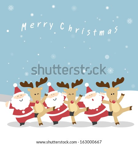 Santa Claus and the reindeer's neck playfully dance to celebrate Christmas. Santa and Reindeer Christmas. vector christmas illustration of santa claus and red nosed reindeer. - stock vector