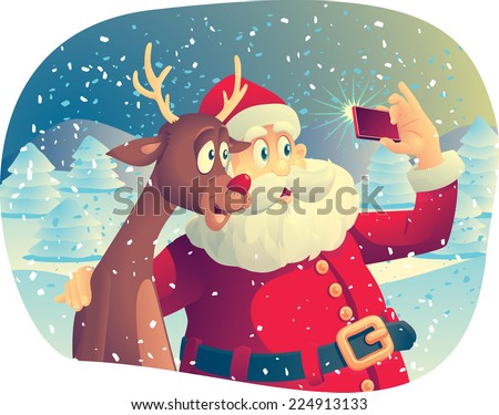 Santa Claus and the Reindeer Taking a Photo Together -Vector cartoon of Santa Claus and his best friend taking a Christmas picture together. EPS AI8 compatible. No transparencies - stock vector