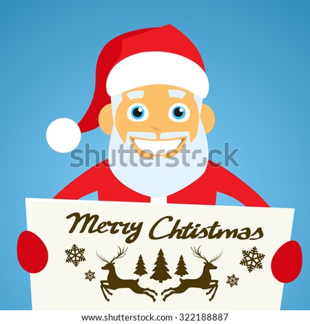 Santa Claus Banner, White Sign Board Blank Empty Copy Space, Christmas New Year Poster Flat Vector Illustration - stock vector