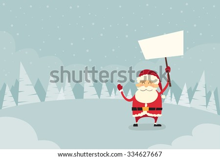 Santa Claus Banner, White Sign Board Blank Empty Copy Space Winter Snow Forest Christmas Holiday Flat Vector Illustration - stock vector