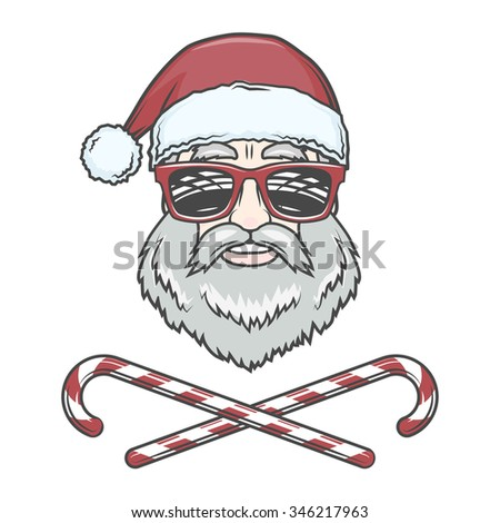 Santa Claus biker with candy cones and hipster glasses print design. Vintage disco man Christmas logo insignia. Rock and roll new year t-shirt illustration. - stock vector