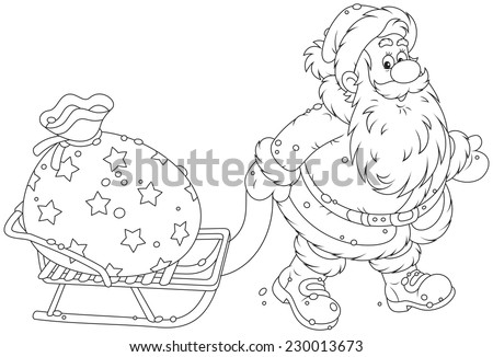 Santa Claus carrying a big bag of Christmas gifts on his sledge - stock vector