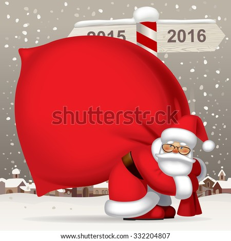Santa Claus carrying a big red sack full of gifts against the winter landscape with a wooden sign showing the way to 2016. Vector illustration - stock vector