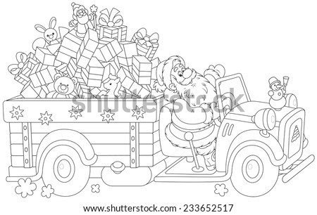 Santa Claus carrying Christmas gifts on his truck - stock vector