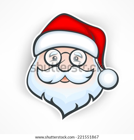 Santa Claus cheerful face on white, vector illustration - stock vector