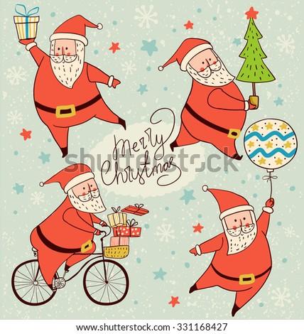 santa claus Christmas cards  - stock vector