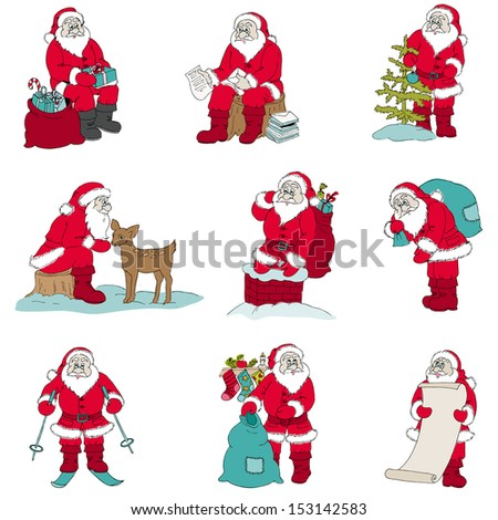 Santa Claus Christmas set - for design and scrapbook - in vector - stock vector