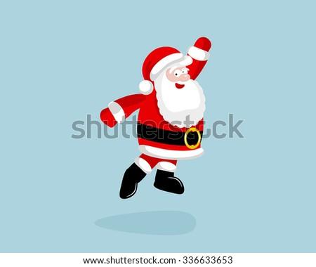 Santa Claus dancing and jumping. Vector illustration. EPS 8. No transparency. No gradients. - stock vector