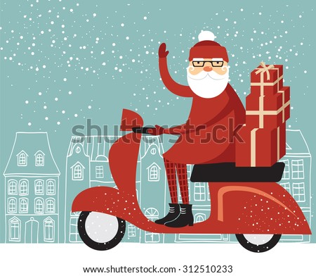 Santa Claus delivering Christmas gifts on a scooter - stock vector