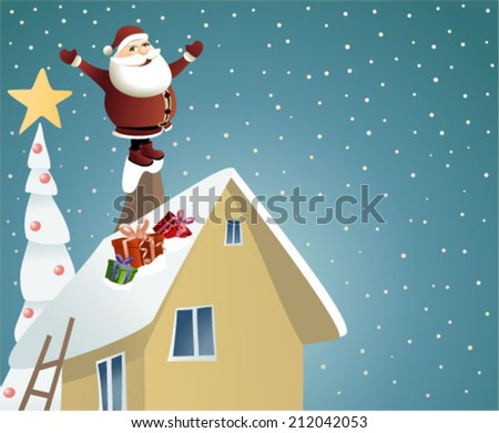 Santa Claus delivering gifts - stock vector