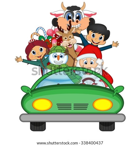 Santa Claus Driving a Green Car Along With Reindeer, Snowman And Brings Many Gifts Vector Illustration - stock vector
