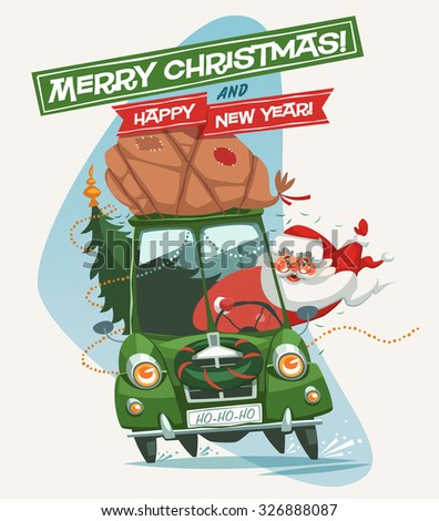 Santa Claus driving an old car. Christmas greeting card \ background \ poster. Vector illustration. - stock vector