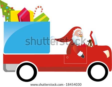 Santa Claus driving gift truck - stock vector
