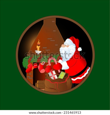 Santa Claus dropping presents on Christmas night. Christmas card. - stock vector
