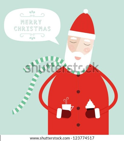 Santa Claus Enjoying His Snack - stock vector