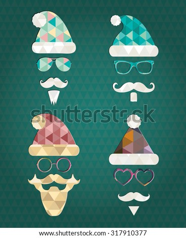Santa Claus Fashion Colorful Silhouette Hipster Style Icons with Abstract Geometric Triangle Patterns. Christmas Holidays Vector Illustration. Cute Hip Glasses - stock vector