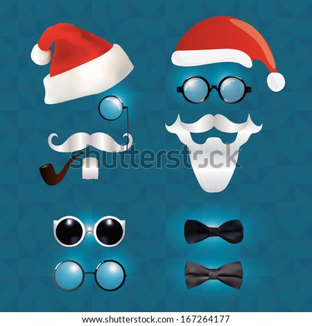Santa Claus fashion set hipster style, illustration icons - stock vector