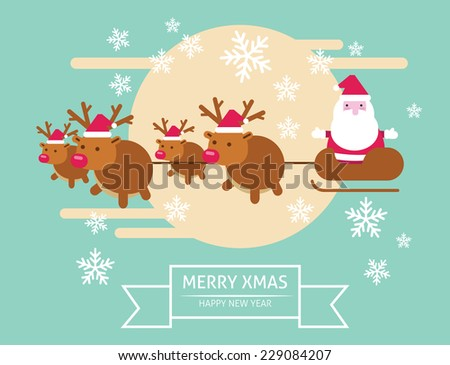 Santa Claus flying in his sleigh. merry xmas & Happy New year. flat character design. vector illustration - stock vector