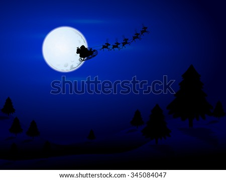 Santa Claus flying over the moon - stock vector