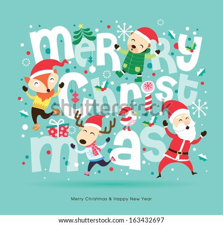 Santa Claus & friends Christmas card - stock vector