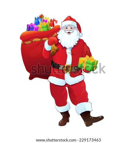 Santa Claus gift box sack full of christmas holiday present. Cartoon Vector Illustration isolated over white background - stock vector