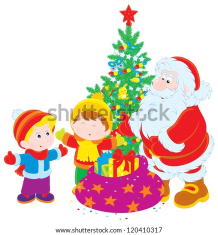 Santa Claus gives presents to children, decorated Christmas tree in the background - stock vector