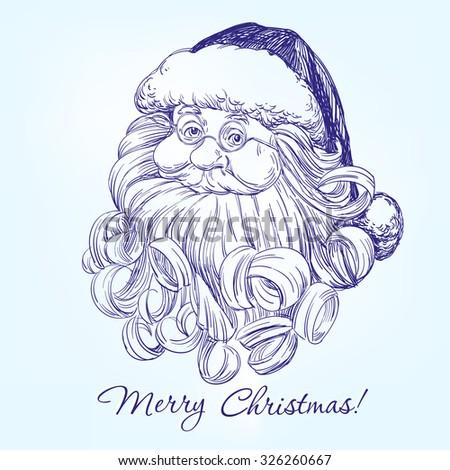 Santa Claus hand drawn vector illustration realistic sketch - stock vector