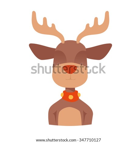 Santa Claus happy cartoon Christmas deer flat icon. Reindeer vector art flat illustration. Deer animal icon isolated. Reindeer vector symbol. Reindeer silhouette. Deer icon isolated on white - stock vector