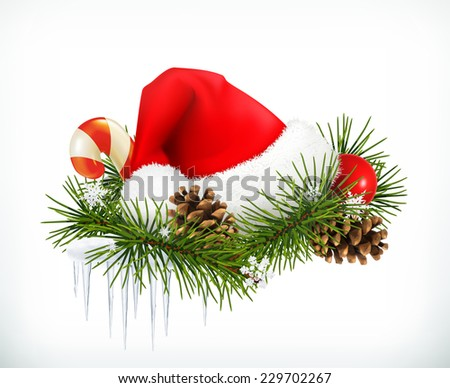 Santa Claus hat, Christmas tree and cones vector - stock vector