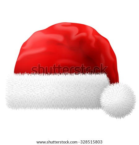 Santa Claus hat isolated on white background. Red christmas hat with white fur. Qualitative vector illustration for christmas, new year, decoration, winter holiday, silvester, tradition, etc - stock vector
