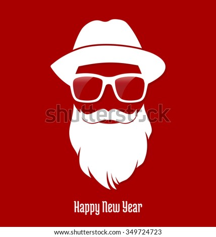 Santa Claus Hipster, Party, Greeting Card, Banner, Sticker, Hipster Style. Geek. - stock vector