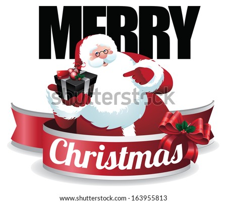 Santa Claus holding a gift box Christmas card design. EPS 10 vector, grouped for eays editing. No open shapes or paths. - stock vector