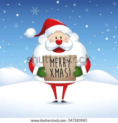 Santa Claus holding banner with Christmas greetings in snow scene - stock vector