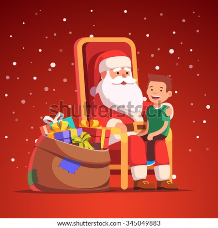 Santa Claus holding little smiling boy on his lap making a wish. Flat style isolated vector illustration. - stock vector