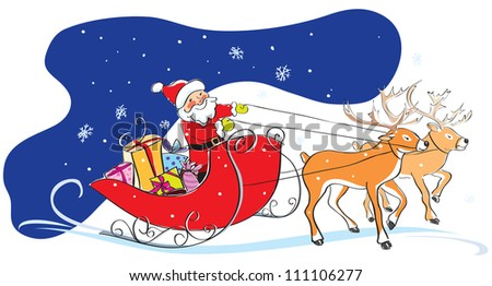 Santa Claus in a sledge with Christmas gifts and two deers. Sky, snowflakes, funny style. Vector illustration - stock vector