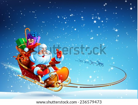 Santa Claus in a sleigh pulled by reindeer flying in the night sky. Gifts for children in a sleigh. Happy New Year. 2016 Merry Christmas. Design. Vector. Icon. - stock vector