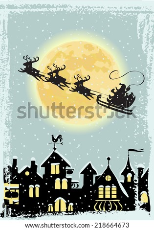 Santa Claus in a sleigh pulled by reindeer flying over the city on Christmas Eve. Hand drawn vector illustration. - stock vector
