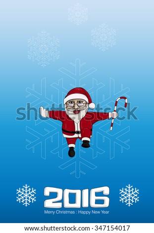 SANTA CLAUS IN CHRISTMAS CARD - stock vector