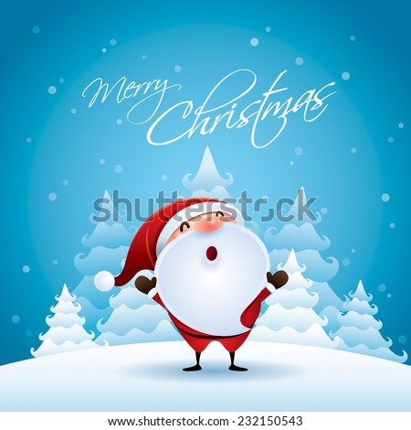 Santa Claus in Christmas snow scene. - stock vector