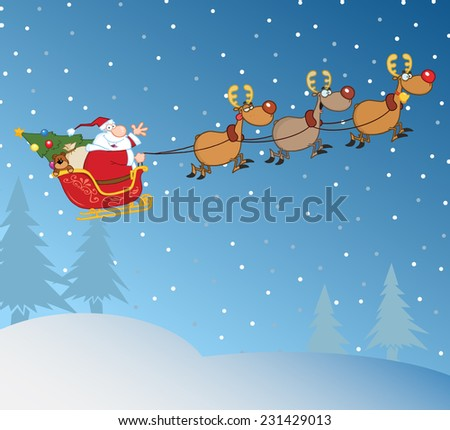 Santa Claus In Flight With His Reindeer And Sleigh In Christmas Night. Vector Illustration - stock vector
