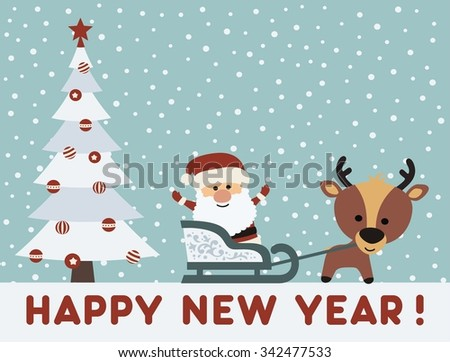 Santa Claus in sleigh with reindeer near Christmas tree, New Year card - stock vector