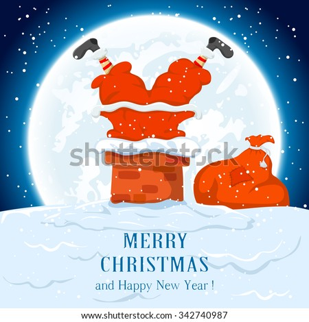 Santa Claus in the chimney and sack of gifts,  illustration. - stock vector