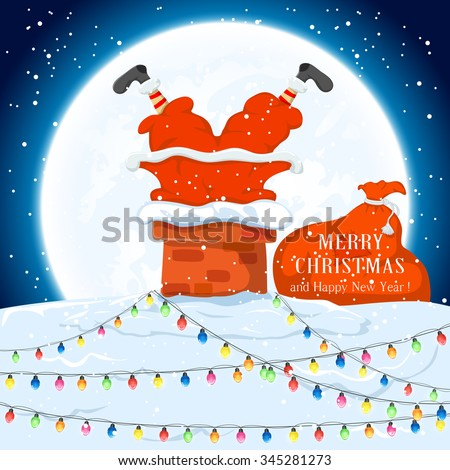 Santa Claus in the chimney and sack of gifts on the roof with Christmas lights,  illustration. - stock vector