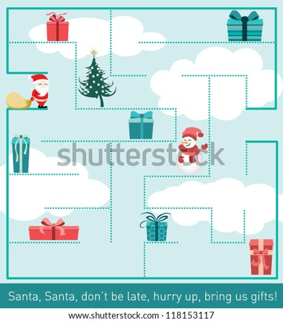Santa Claus in the labyrinth, picking up presents, Christmas Tree, Snowman - stock vector