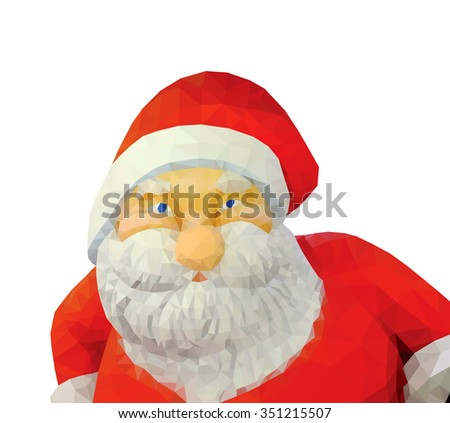 Santa Claus isolated against white, low poly vector illustration.  - stock vector