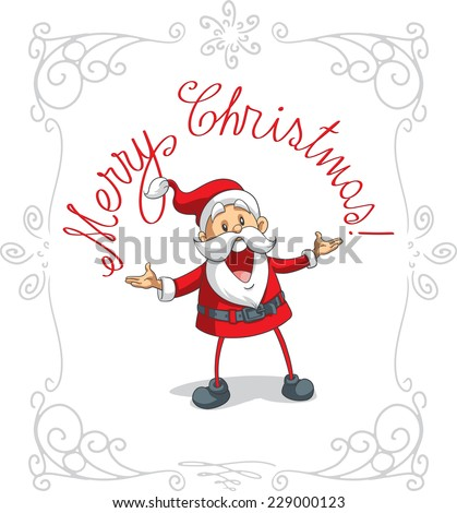 Santa Claus Merry Christmas Vector Cartoon Hand drawn Christmas illustration - File type: vector EPS AI8 compatible. No transparencies, only compatible gradients  - stock vector