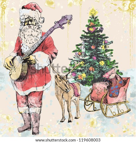 Santa Claus musician - he goes to play Christmas Carols on the Banjo. Description: Editable in ten layers. Number of colors in each layer: no more than sixteen. - stock vector