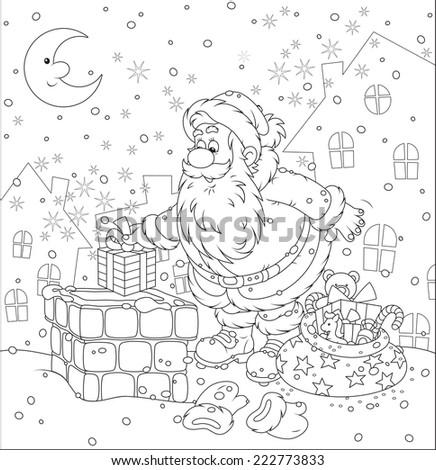 Santa Claus on a housetop - stock vector