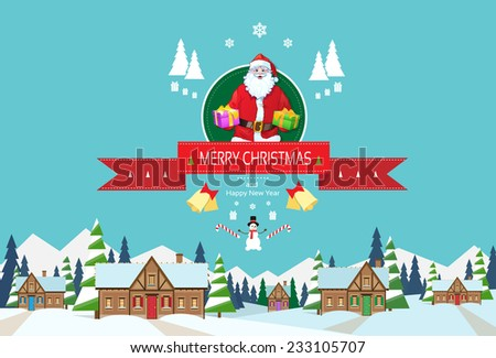Santa claus on christmas greeting card holding gift box presents with merry christmas and happy new year banner with snowman over winter snow village houses background - stock vector