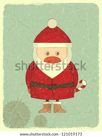 Santa Claus on Grunge background, Merry Christmas postcard in Retro style - vector illustration - stock vector